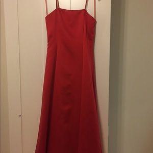 Red satin ballerina length gown